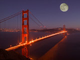 Moonrise above the Golden Gate Bridge  Marin  California