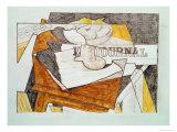 Still Life with a Newspaper and a Wooden Table, c.1918 Giclée par Juan Gris