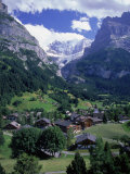 Lodges in Valley  Grindewald Alps  Switzerland