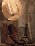 Cowboy Hat and Boots  Barbed Wire and Hammer