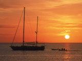 Masted Sailboat at Sunset  Cape Cod  MA