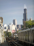 Train and City View from Wicker Park  Chicago  IL