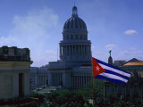 Flag and Capitol Building  Havana  Cuba