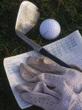 Golf Ball  Club  Golf Glove  and Score Card