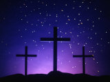 Silhouetted Crosses Against Star-Filled Sky