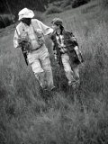 Grandfather and Boy in Field with Fishing Poles  CO