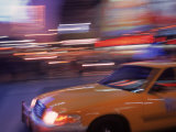 Blurred View of Taxi Cab in Times Square  NYC