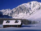 Cabin in Snow  Convict Lake  Sierra NV Mts  CA