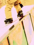 Snowboarder Skittering on a Rail