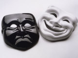 Black and White Image of Ceramic Theater Masks