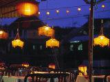 Seafood Restaurant with Lit Lanterns  Vietnam
