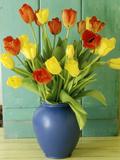 Spring Arrangement  Tulipa in Blue Vase Against Green Door