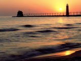 Sunset Light on Grand Haven Lighthouse  MI