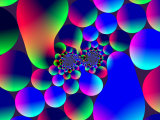 Multi-Coloured Abstract Fractal Pattern with Circular Shapes and Blobs