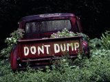 An Abandoned Vehicle Ironically Bears a Sign Warning against Dumping
