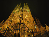 A Night View of Gaudis Temple Expiatori De La Sagrada Familia