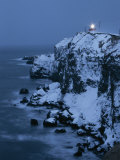 A Lighthouse Atop Snow-Covered Cliffs on Notsuke Bay