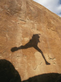 A Hikers Shadow on a Sandstone Wall