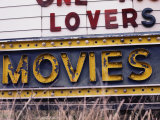 Close View of an Old Drive-In Theater Sign
