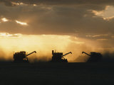 Combines Silhouetted at Dusk