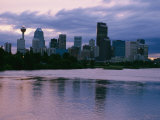 Twilight on the Bow River and Calgary