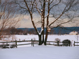 Pastoral View of a Farm Covered in Snow