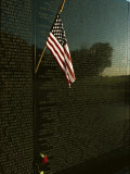 American Flag Left at the Vietnam Veterans Memorial