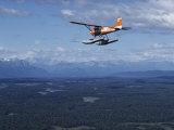 A Cessna Plane Flies over Backcountry Air Lanes Near the Alaska Range