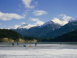 Hockey on Frozen Green Lake in Whistler  British Columbia  Canada