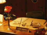 A View of Eleanor Roosevelts Desk  with a Misspelled Name Plate Given to Her by a Student