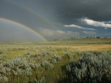A Double Rainbow Appears Above the Sagebrush in Wyoming