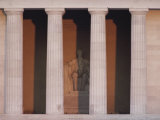 A View of Lincolns Statue Behind Columns at the Lincoln Memorial