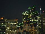 San Diego High Rises Brightly Lit at Night