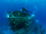 A Diver Swims Around the Submerged Research Station  Aquarius