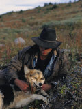 Portrait of a Wrangler with His Pet Dog in Jasper National Park