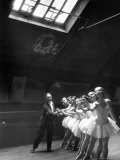 Ballet Master with Ballerinas Practicing Classic Exercise in Rehearsal Room at Grand Opera de Paris