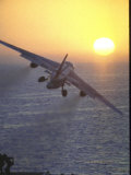 Jet Plane  A4D Skyhawk  Taking Off From USS Independence at Sunrise over Mediterranean Sea