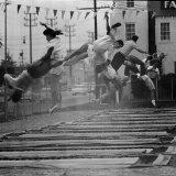 People Jumping in a Roadside Trampoline Park in LA called Jess Robinson's Trampoline Club