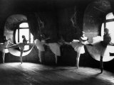 "Ballerinas at Barre Against Round Windows During Rehearsal For ""Swan Lake"" at Grand Opera de Paris"