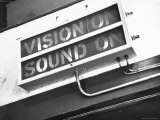 Electrical Sign Showing That the Sound and Vision Are on in the BBC Television Studio