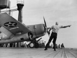 "Close Up of Fighter Plane Before Takeoff from Flight Deck of Aircraft Carrier ""Enterprise"""