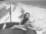 Betty Brooks and Patti McCarty Motor Boating at Catalina Island