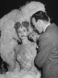 """Chorus Girl Getting Makeup Applied During Production of the Movie """"The Ziegfeld Follies"""""""
