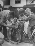 Man Fixing Basket on Bicycle as Children Watch Attentively