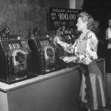 Woman Participating in WWII War Bond Rally in Gambling Casino