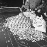 Police Guarding $500 000 in Silver Being Used During a WWII War Bond Rally in a Gambling Casino