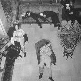 Soldiers Sleeping in Chairs in Lobby of the Davenport Hotel