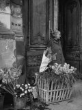 Elderly Woman Selling Flowers Outside Gallerie du Bac  Paris