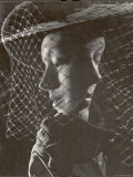 Double Exposure of Model Wearing Hat with Heavy Face Veil  c1946