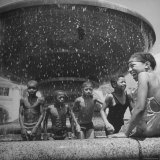 African American Children Playing in a Fountain